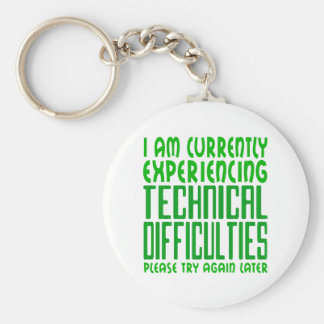 Technical Difficulties Basic Round Button Keychain