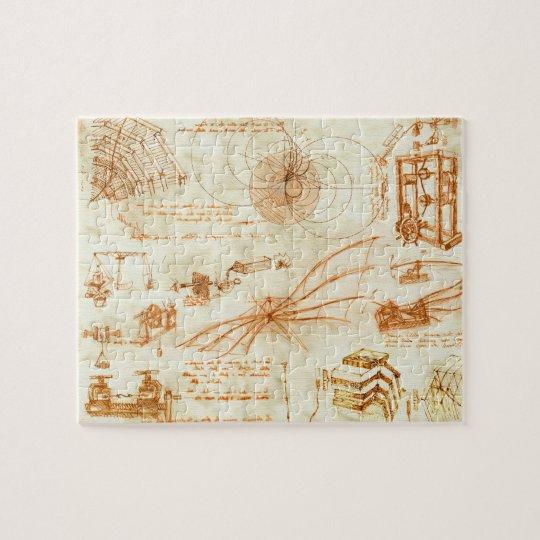 Technical drawing & sketches by Leonardo Da Vinci Jigsaw Puzzle