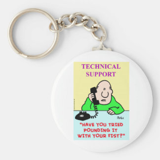 technical support pounding fist basic round button keychain