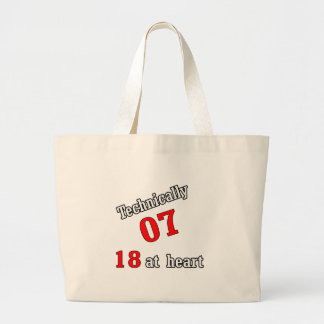 Technically 07, 18 at heart large tote bag