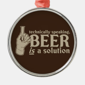 technically speaking, beer is a solution Silver-Colored round ornament