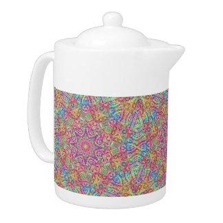 Techno Colors  Kaleidoscope Pattern Teapots