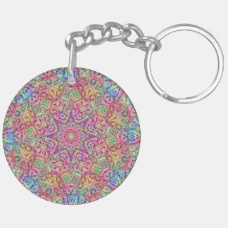 Techno Colors Pattern  (double-sided) Keychain