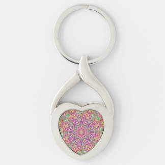 Techno Colors Pattern  Metal Keychains, 4 shapes Silver-Colored Twisted Heart Keychain
