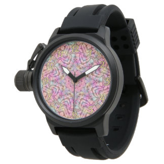 Techno Colors Pattern   Vintage Mens Watch