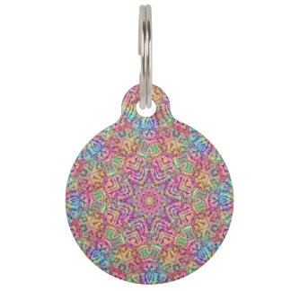 Techno Colors  Vintage Kaleidoscope  Dog Cat Tag Pet Tags