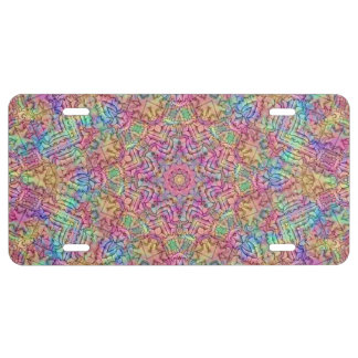 Techno Colors Vintage Kaleidoscope  License Plates