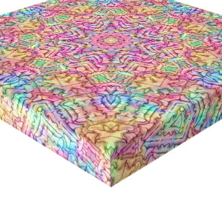 Techno Colors  Vintage Kaleidoscope Wrapped Canvas