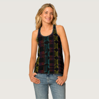 Techno electronic dance music geometric design tank top
