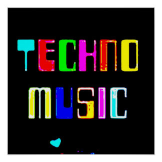 Techno Music heart Poster