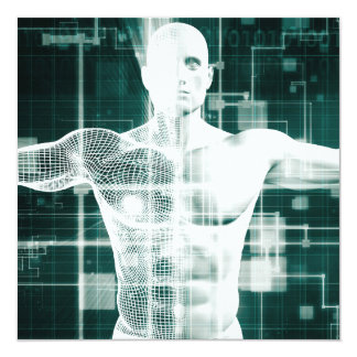 Technologie de soins de santé et balayage médical carton d'invitation  13,33 cm