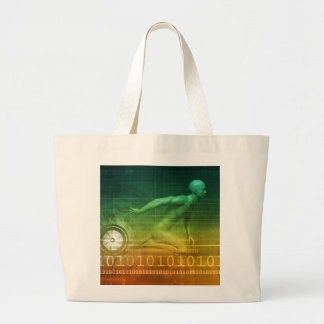 Technology Evolution with Man Evolving with System Large Tote Bag