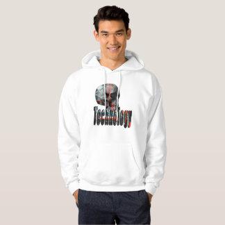 Technology Mind Skull And Logo, Mens Fleece Hoodie