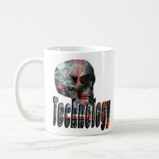 Technology Minded Skull Logo , White Coffee Mug. Coffee Mug