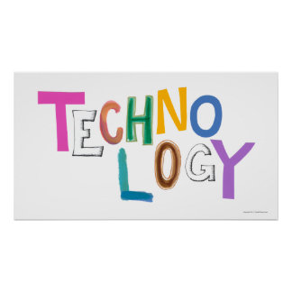 Technology modern word art tech geek fun colorful poster