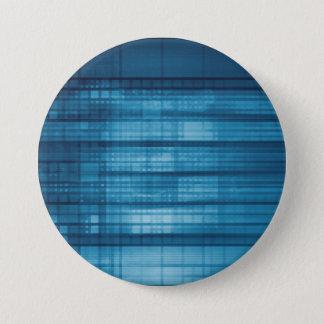 Technology Mosaic Background as a Tech Concept Art 3 Inch Round Button