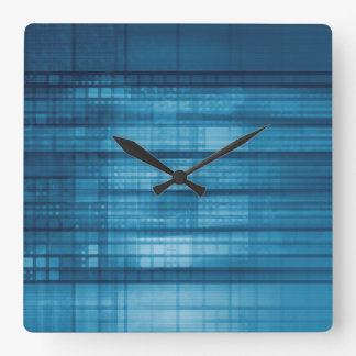 Technology Mosaic Background as a Tech Concept Art Square Wall Clock