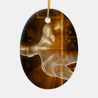 Technology Network with Futuristic Graph Chart Ceramic Oval Ornament