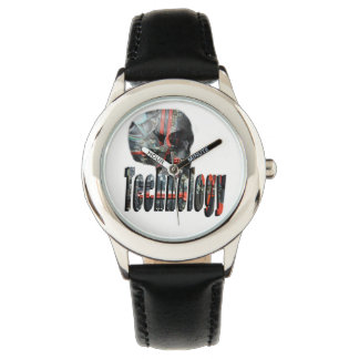 Technology Skull & Logo Kids Black Leather Watch