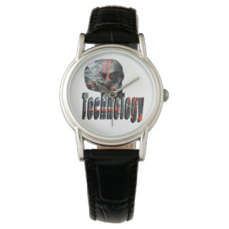 Technology Skull & Logo Ladies Black Leather Watch
