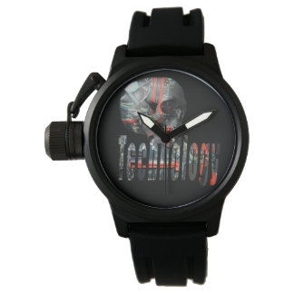 Technology Skull & Logo Mens Black Rubber Watch