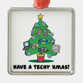 techy electronics chrismas tree metal ornament