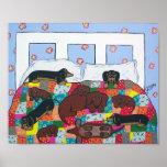 Teckels dans l'art d'affiche de lit