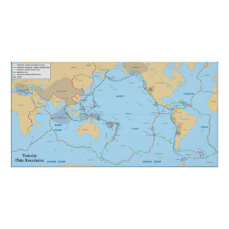 Tectonic Plates and Movement Vectors World Map Poster