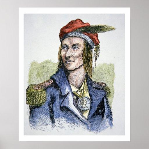 Tecumseh (1768-1813) (coloured engraving) poster