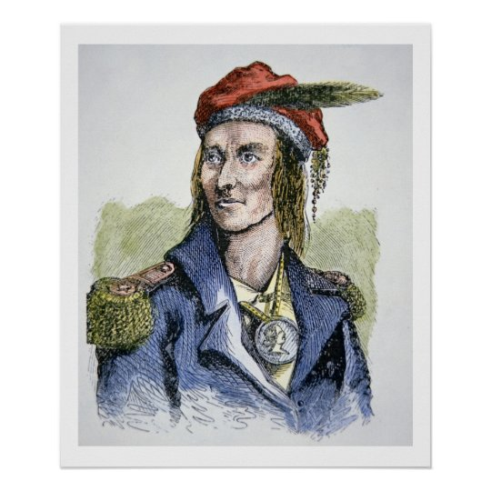 Tecumseh (1768-1813) (coloured engraving) poster