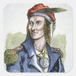 Tecumseh (1768-1813) (coloured engraving) square sticker
