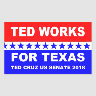 Ted works for Texas red white and blue design. Sticker