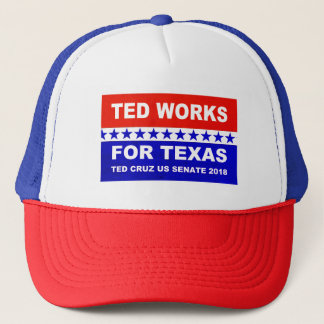 Ted works for Texas red white and blue design. Trucker Hat