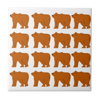 Teddies design on white tile