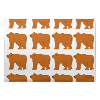 Teddies designs on white placemat