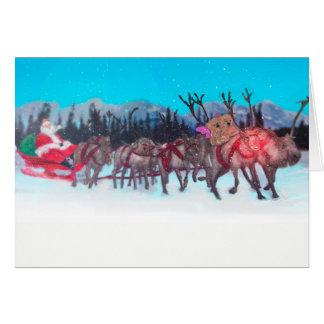 Teddies in the snow, card