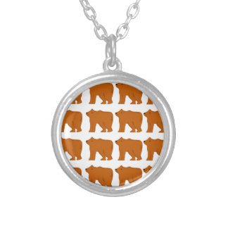 Teddies on white silver plated necklace