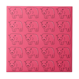 Teddies painted Pink sweet Design Tile