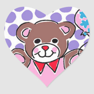 Teddy Balloon Bear Heart Sticker