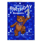 Teddy Bear 1st Birthday for Boy Card