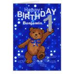 Teddy Bear 1st Birthday for Boy Greeting Cards