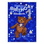 Teddy Bear 1st Birthday for Girl Greeting Card