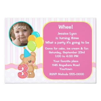 Teddy Bear 3rd Birthday Photo Card