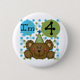 Teddy Bear 4th Birthday T-shirts and Gifts 2 Inch Round Button