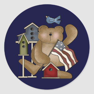 Teddy Bear 4th of July Classic Round Sticker