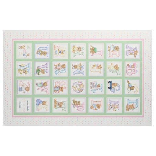 Teddy Bear Alphabet Cheater Quilt Pattern Fabric