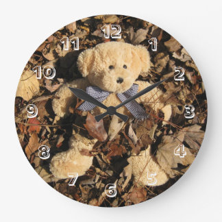 Teddy Bear and A Big Pile of Leaves Large Clock
