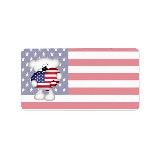 Teddy Bear and Big USA Flag Heart