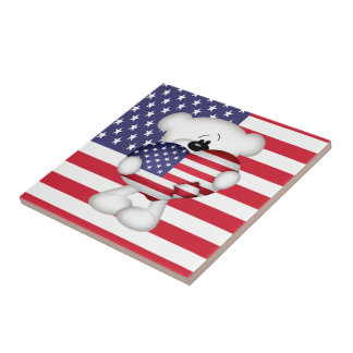 Teddy Bear and Big USA Flag Heart Tiles