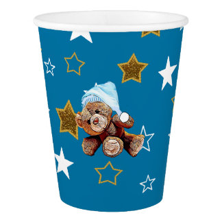 Teddy Bear and Blue and Gold Stars Paper Cup